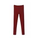 Skinny Plain Elastic Waist Pants