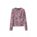 Abstract Floral Print Round Neck Quilted Long Sleeve Zipper Coat