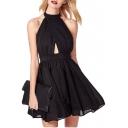 Plain Pleated Halter Sleeveless Cutout A-Line Dress