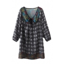 Tribal Print V-Neck Tie Front Long Sleeve Shirt Dress