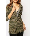 Lapel Camouflage Print Long Sleeve Pockets Tie Waist Coat