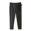 Plain Zipper Tie Waist Casual Pants