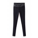 PU Insert Black Elastic Waist Skinny Pants