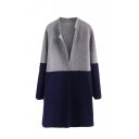 Color Block Lapel Long Sleeve Open Front Woolen Cardigan
