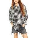 Black and White Plaid Long Sleeve Lapel Button Down Shirt