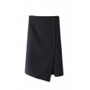 Plain Asymmetrical Hem Split Side Zipper Back Wrap Midi Skirt