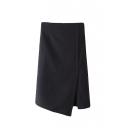 Plain Asymmetrical Hem Split Side Zipper Back Wrap Midi Skirt