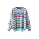 Colorblock Geometric Pattern Round Neck Long Sleeve Knit Sweater