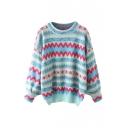Colorblock Geometric Pattern Round Neck Long Sleeve Knit Sweater