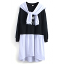 Long Sleeve Letter Print Scarf Collar Color Block T-Shirt Dress