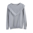 Plain Tassel Trim Long Sleeve Fitted Sweater