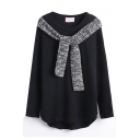 Round Neck Plain Long Sleeve Scarf Detail Sweatshirt