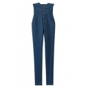 High Waist Skinny Cigarette Button Detail Elastic Jeans