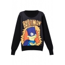 Round Neck Long Sleeve Pullover Cartoon Print Sweatshirt