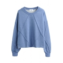 Pullover Long Sleeve Round Neck Plain Sweatshirt