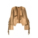 Plain Asymmetrical Hem Tassel Long Sleeve Open Front Suede Coat