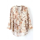 Floral Print Stand Collar High Low Long Sleeve Shirt