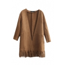 Suede V-Neck Long Sleeve Tassel Hem Open Front Coat