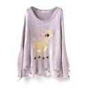 Cute Deer Pattern Scoop Neck Long Sleeve Ripped Sweater