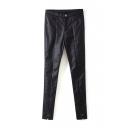 PU Black Single Button Zipper Skinny Pants