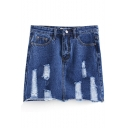 Ripped High Waist Wrap Zippered Denim Skirt
