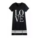 Love Letter Print Round Neck Short Sleeve Zipper Shift Dress