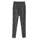 Black Elastic Waist PU Insert Snow Print Pants
