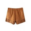 Suede Elastic Waist Tassel Trim Shorts