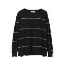 Stripe Long Sleeve Fungus Trim Long Sleeve Tunic Sweater