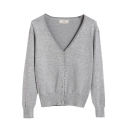 Plain V-Neck Single Breast Crop Sweater