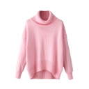Turtle Neck Plain Long Sleeve High Low Sweater