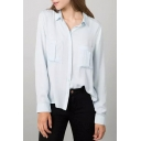 Lapel Button Down Double Pockets Long Sleeve Shirt
