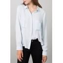 Lapel Button Down Double Pockets Long Sleeve Shirt