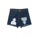 Raw Edge Zipper Fly Patchwork Dark Blue Denim Shorts