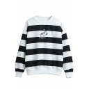 Cartoon Print Long Sleeve Striped Round Neck Sweatshirt