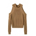 Turtle Neck Cold Shoulder Long Sleeve Knit Plain Sweater