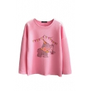 Lovely Little Elephant Print Long Sleeve Round Neck Tee