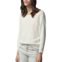 Plain Boat Neck Long Sleeve Knit Sweater