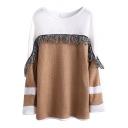 Tassel Hem Color Block Long Sleeve Knit Sweater