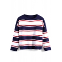Stripe Round Neck Color Block Long Sleeve Sweater