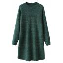 Long-Line Long Sleeve Round Neck Sweater