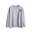 Dolphin Embroidered Round Neck Fitted Sweatshirt