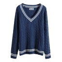 Cable Knit Stripe V-Neck Long Sleeve Sweater