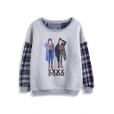 Plaid Character Pattern Long Sleeve Sweatshirt