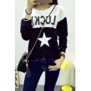 Letter Print Color Block Long Sleeve Sweatshirt
