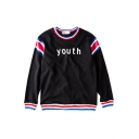 Color Block Trim Letter Print Sweatshirt