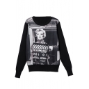 Round Neck Long Sleeve Character Print Sweatshirt