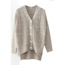 Button Down Long Sleeve Gray Dip Hem Cardigan