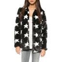 Open Front Star Print Long Sleeve Fur Coat