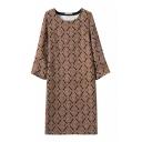 Round Neck Long Sleeve Print Midi Shift Dress